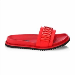Moschino Logo Slide Leather Sandal RED Size 43